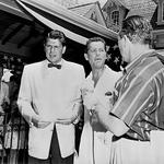 Reagan (far left) taking part in Disneyland's TV debut in July 1955.